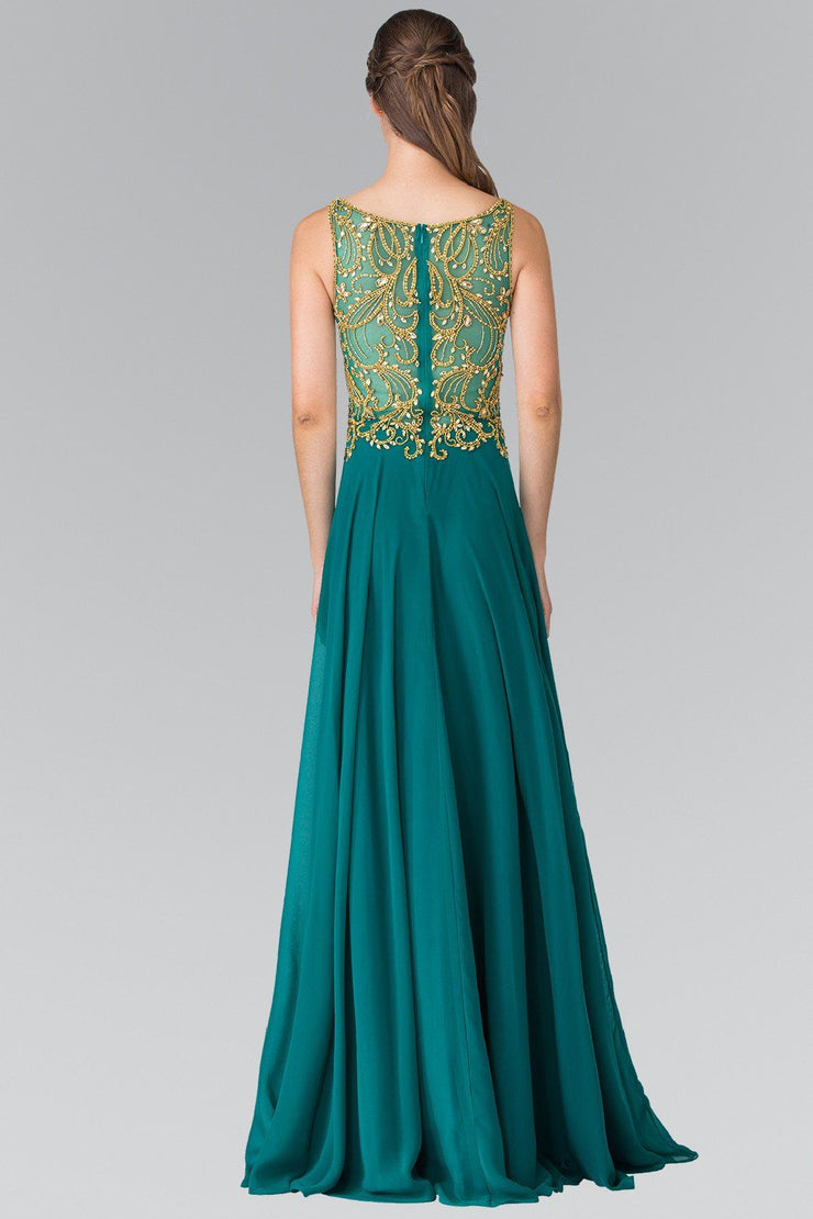 Sleeveless Beaded Dress with Illusion Back by Elizabeth K GL2274-Long Formal Dresses-ABC Fashion