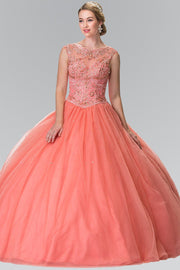 Sleeveless Beaded Illusion Ballgown by Elizabeth K GL2352-Quinceanera Dresses-ABC Fashion