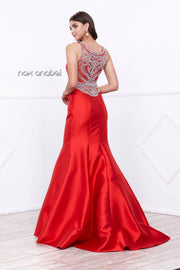 Sleeveless Beaded Mermaid Dress by Nox Anabel 8299-Long Formal Dresses-ABC Fashion