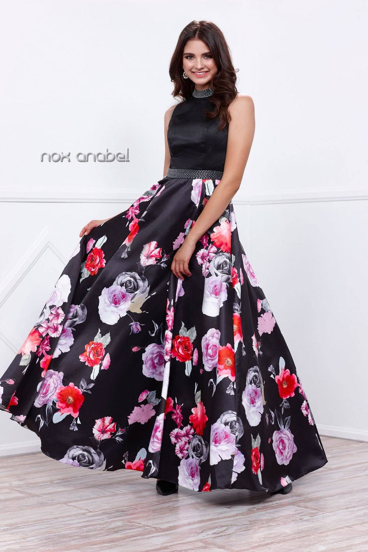 Sleeveless Black/Red/Purple Floral Print Dress by Nox Anabel 8289-Long Formal Dresses-ABC Fashion