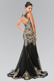 Sleeveless Embroidered Dress with Small Train by Elizabeth K GL2307-Long Formal Dresses-ABC Fashion