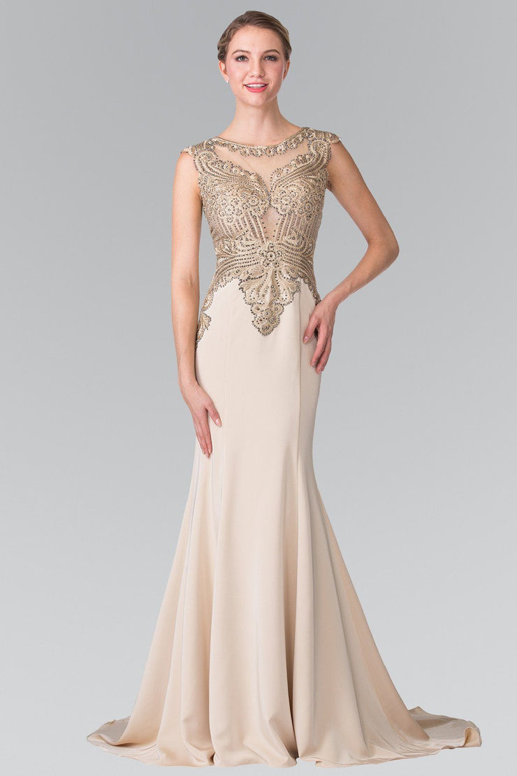 Sleeveless Embroidered Illusion Gown by Elizabeth K GL1461-Long Formal Dresses-ABC Fashion