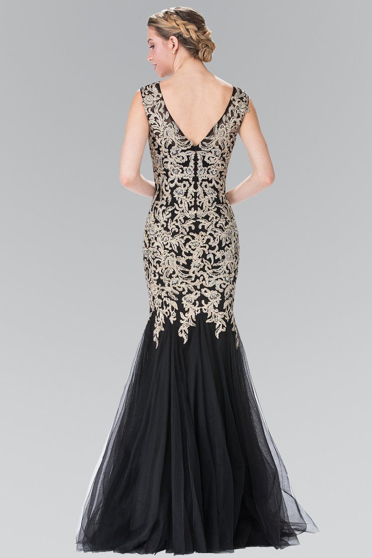 Sleeveless Embroidered Mermaid Dress with V-Back by Elizabeth K GL2319-Long Formal Dresses-ABC Fashion