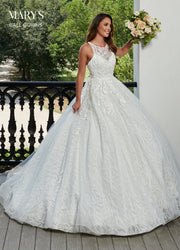 Sleeveless Floral Lace Wedding Dress by Mary's Bridal MB6059-Wedding Dresses-ABC Fashion