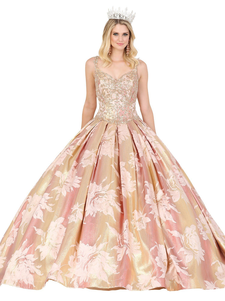 Sleeveless Floral Print Ball Gown by Dancing Queen 1458