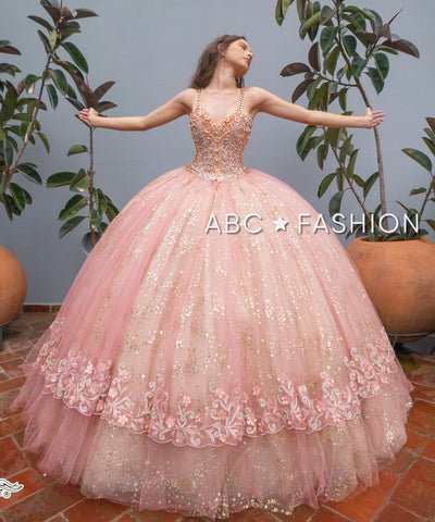 Sleeveless Glitter Quinceanera Dress by Ragazza DV48-548