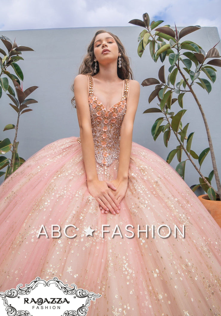 Glitter Quinceanera Dress by Ragazza DV48-548