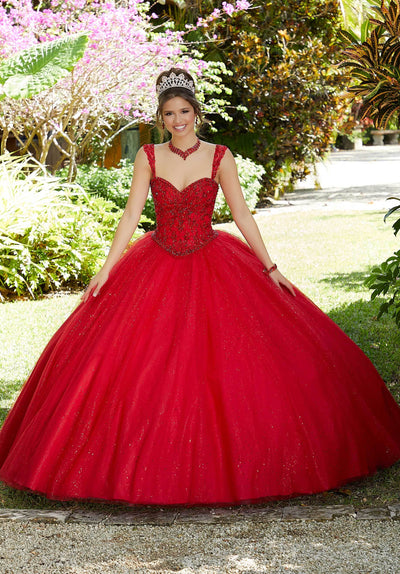 Sleeveless Glitter Quinceanera Dress by Mori Lee Valencia 60126