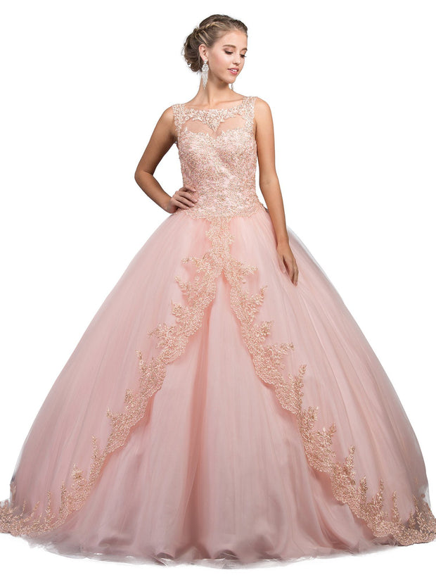 Sleeveless Illusion Ball Gown with Appliques by Dancing Queen 1248-Quinceanera Dresses-ABC Fashion