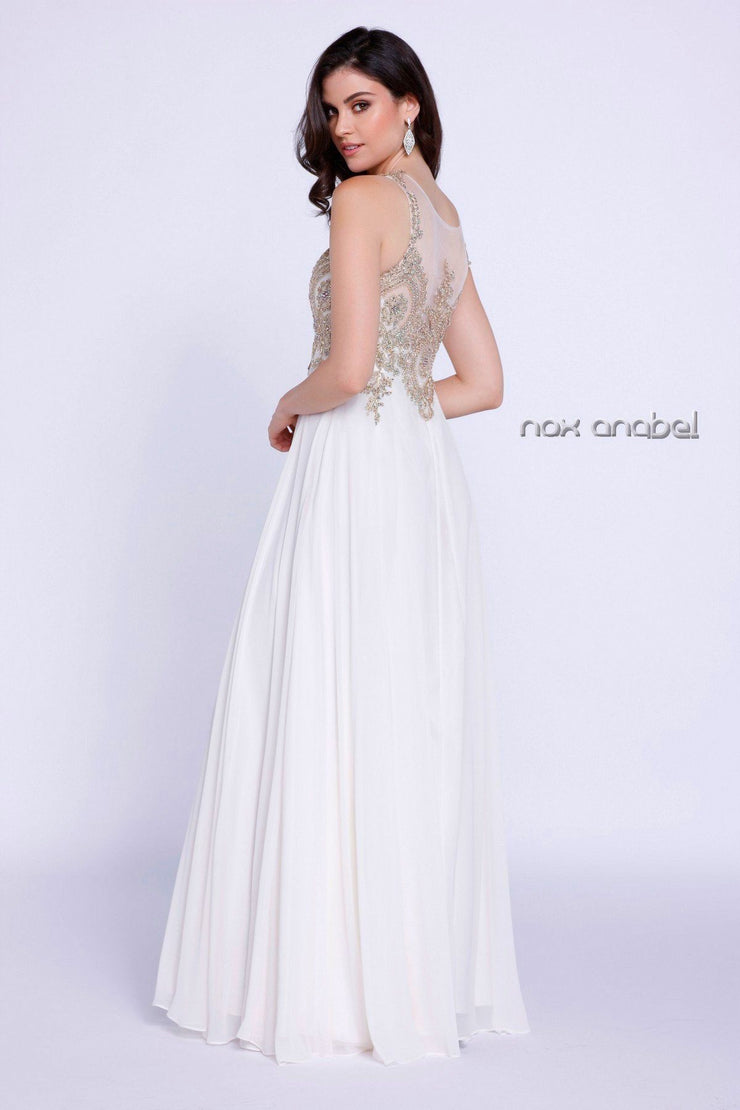 Sleeveless Illusion Dress with Appliques by Nox Anabel 8255-Long Formal Dresses-ABC Fashion