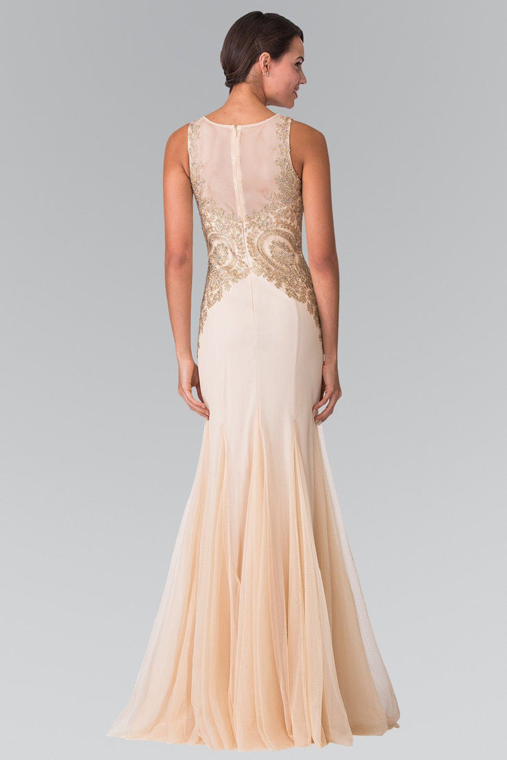 Sleeveless Illusion Dress with Lace Applique by Elizabeth K GL2283-Long Formal Dresses-ABC Fashion