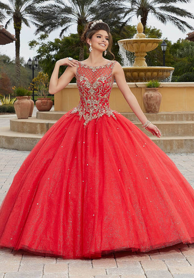 Sleeveless Illusion Quinceanera Dress by Mori Lee Valencia 60096-Quinceanera Dresses-ABC Fashion
