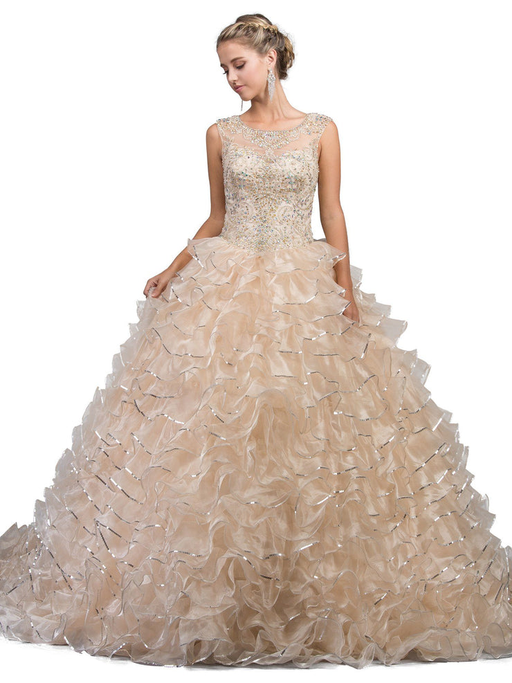 Sleeveless Illusion Ruffled Ball Gown by Dancing Queen 1218-Quinceanera Dresses-ABC Fashion