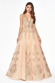 Sleeveless Lace Ball Gown with Appliques by Cinderella Divine CK801-Long Formal Dresses-ABC Fashion
