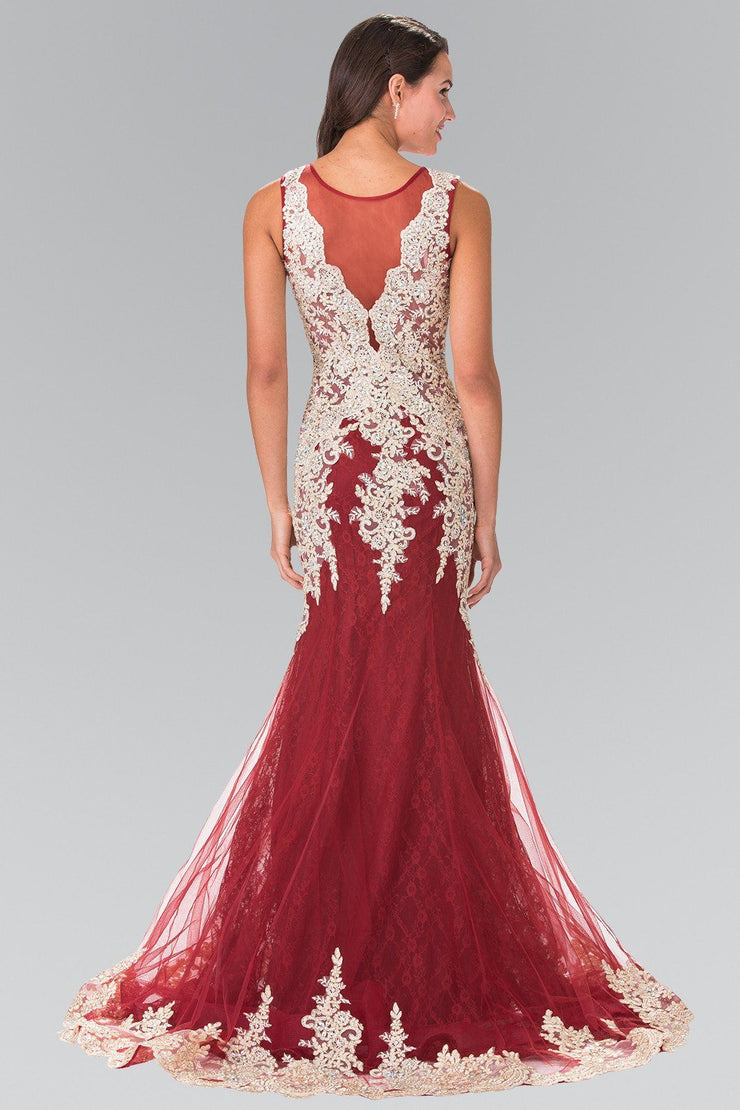 Sleeveless Lace Mermaid Dress with Illusion Top by Elizabeth K GL1462-Long Formal Dresses-ABC Fashion