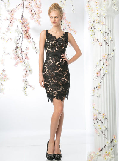 Sleeveless Lace Overlay Cocktail Dress by Cinderella Divine CF053-Short Cocktail Dresses-ABC Fashion