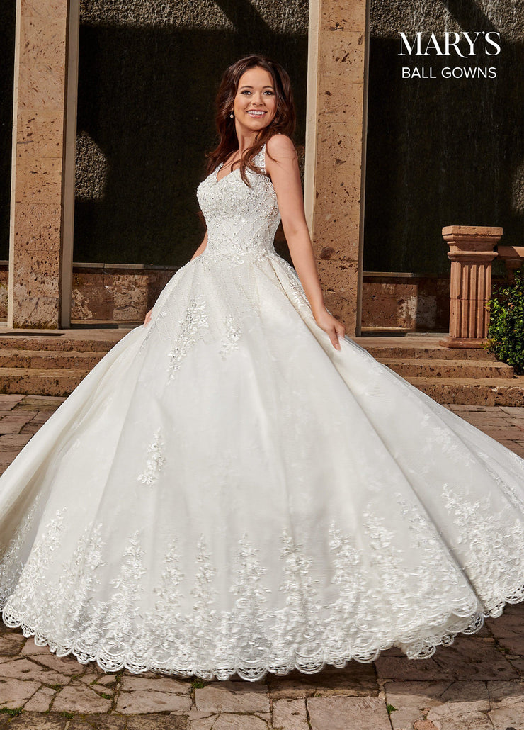 Sleeveless Lace Wedding Ball Gown by Mary's Bridal MB6074