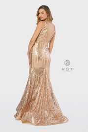 Sleeveless Long Sequin Print Trumpet Dress by Nox Anabel C214-Long Formal Dresses-ABC Fashion