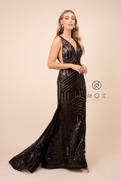 Sleeveless Long Sequin Print Trumpet Dress by Nox Anabel C214