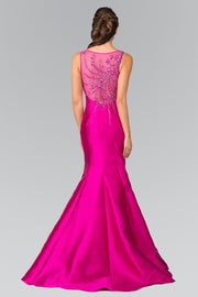 Sleeveless Mermaid Dress with Sheer Beaded Back by Elizabeth K GL2212-Long Formal Dresses-ABC Fashion