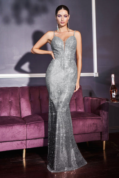 Sleeveless Ombre Glitter Fitted Dress by Cinderella Divine CJ509