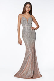 Sleeveless Ombre Glitter Mermaid Dress by Cinderella Divine CJ509-Long Formal Dresses-ABC Fashion