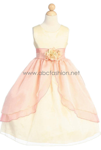 Sleeveless Organza Bubble Flower Girl Dress-Girls Formal Dresses-ABC Fashion
