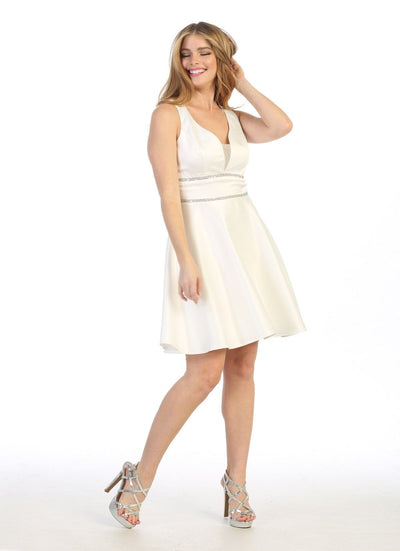 Sleeveless Short V-Neck Jersey Dress by Celavie 6493S