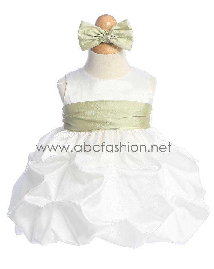 Sleeveless Taffeta Baby Girl Dress with Pick-Up Skirt-Girls Formal Dresses-ABC Fashion