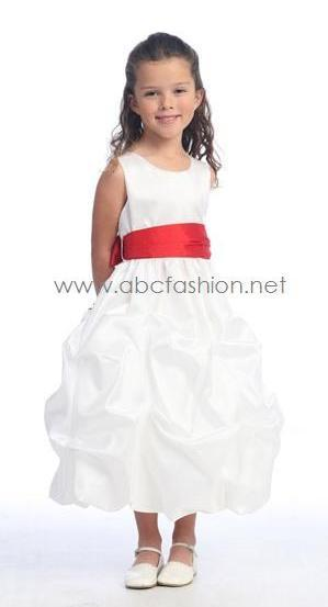 Sleeveless Taffeta Pick-Up Flower Girl Dress-Girls Formal Dresses-ABC Fashion