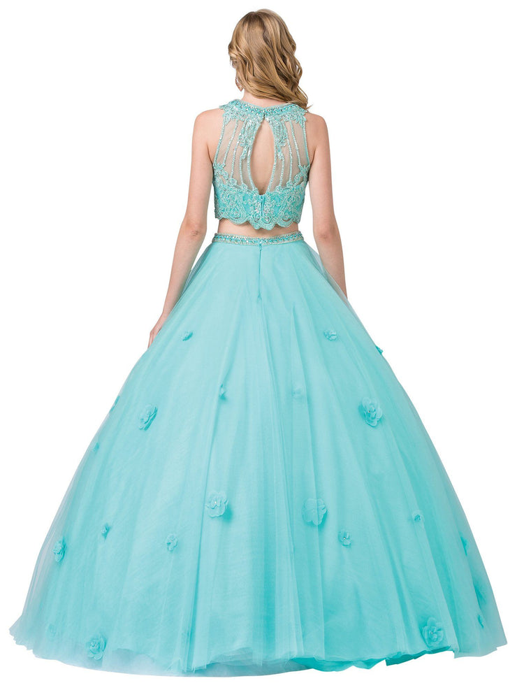Sleeveless Two-Piece Ball Gown with Lace Top by Dancing Queen 1302