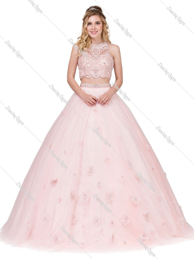 Sleeveless Two-Piece Ball Gown with Lace Top by Dancing Queen 1302-Quinceanera Dresses-ABC Fashion