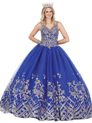 Sleeveless V-Neck Applique Ball Gown by Dancing Queen 1448
