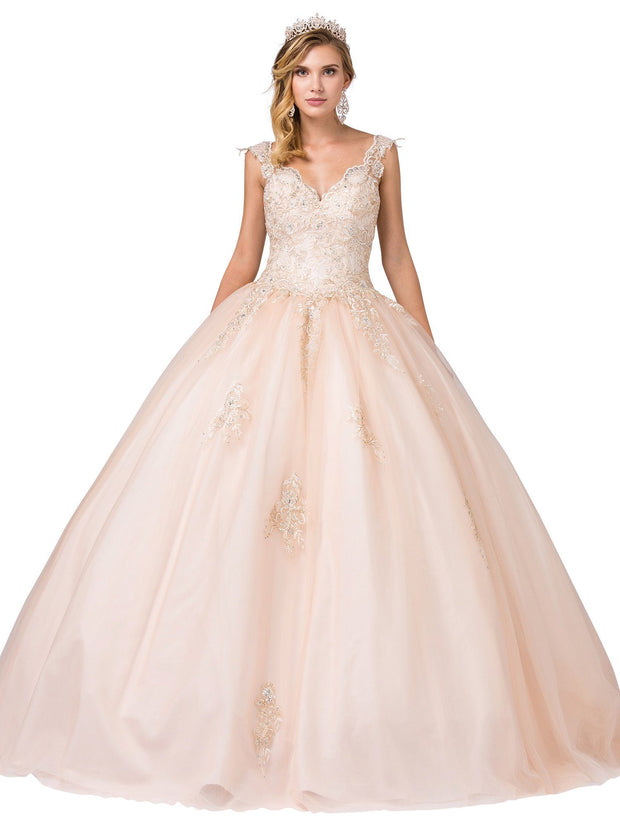 Sleeveless V-Neck Ball Gown with Lace Bodice by Dancing Queen 1287