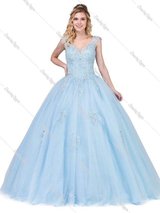 Sleeveless V-Neck Ball Gown with Lace Bodice by Dancing Queen 1287-Quinceanera Dresses-ABC Fashion