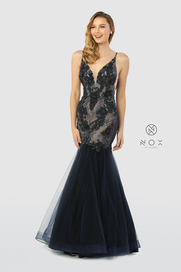 Sleeveless V-Neck Beaded Lace Tulle Mermaid Gown by Nox Anabel E185-Long Formal Dresses-ABC Fashion