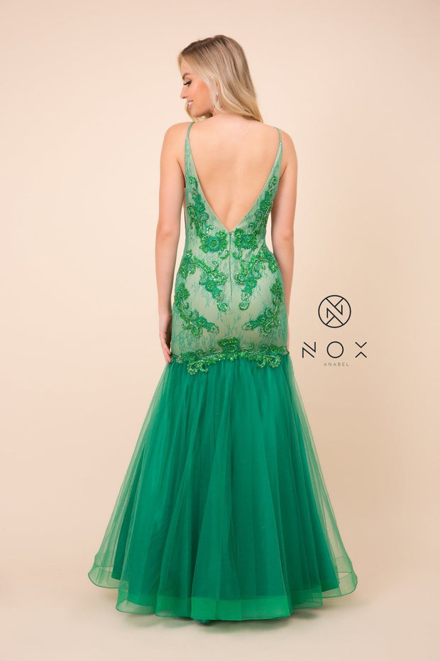 Sleeveless V-Neck Beaded Lace Tulle Mermaid Gown by Nox Anabel E185
