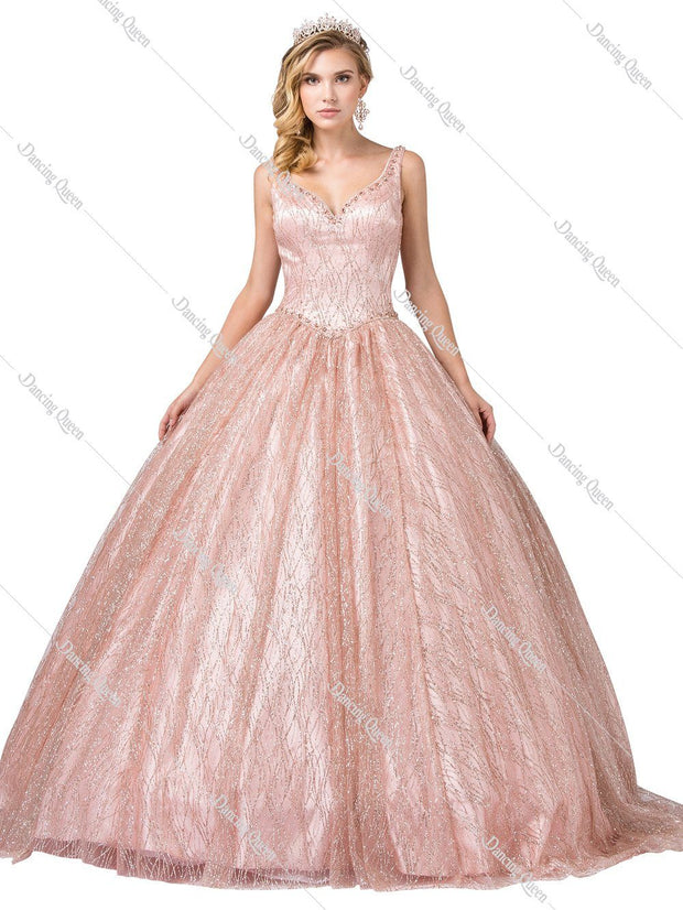 Sleeveless V-Neck Glitter Ball Gown by Dancing Queen 1400