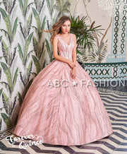 Sleeveless V-Neck Glitter Quinceanera Dress by Forever Quince FQ792-Quinceanera Dresses-ABC Fashion