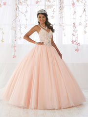 Sleeveless V-Neck Quinceanera Dress by Fiesta Gowns 56371 (Size 12 - 22)-Quinceanera Dresses-ABC Fashion