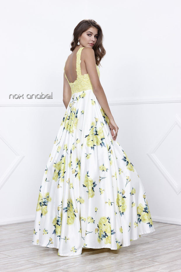 Sleeveless Yellow Floral Print Dress by Nox Anabel 8203-Long Formal Dresses-ABC Fashion