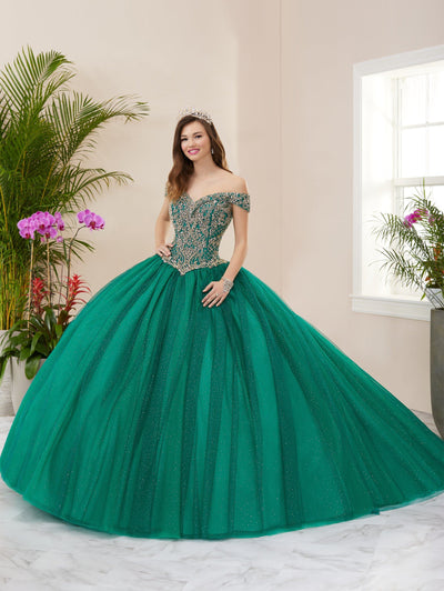 Sparkle Off Shoulder Quinceanera Dress by Fiesta Gowns 56406 (Size 18 - 26)