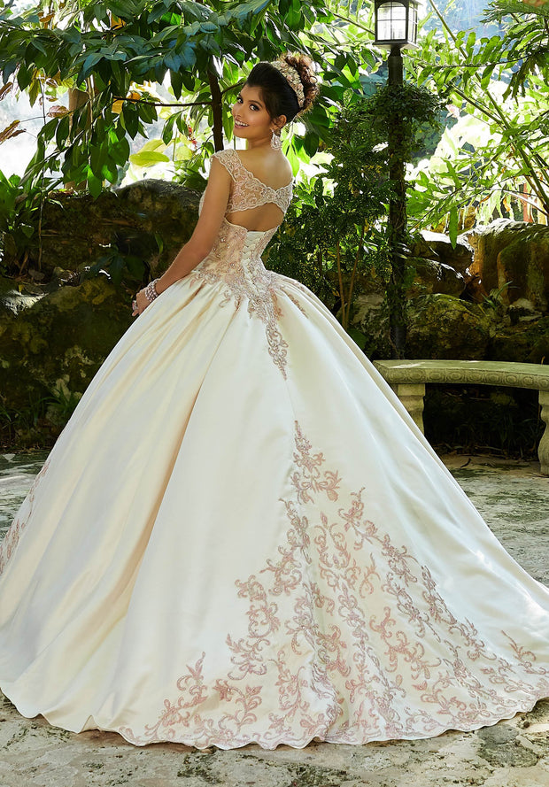 Split Front V-Neck Quinceanera Dress by Mori Lee Vizcaya 89245-Quinceanera Dresses-ABC Fashion