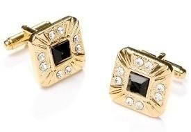 Square Gold Cufflinks with Black and Clear Crystals-Men's Cufflinks-ABC Fashion