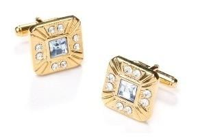 Square Gold Cufflinks with Clear Crystals-Men's Cufflinks-ABC Fashion