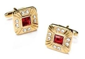 Square Gold Cufflinks with Red and Clear Crystals-Men's Cufflinks-ABC Fashion