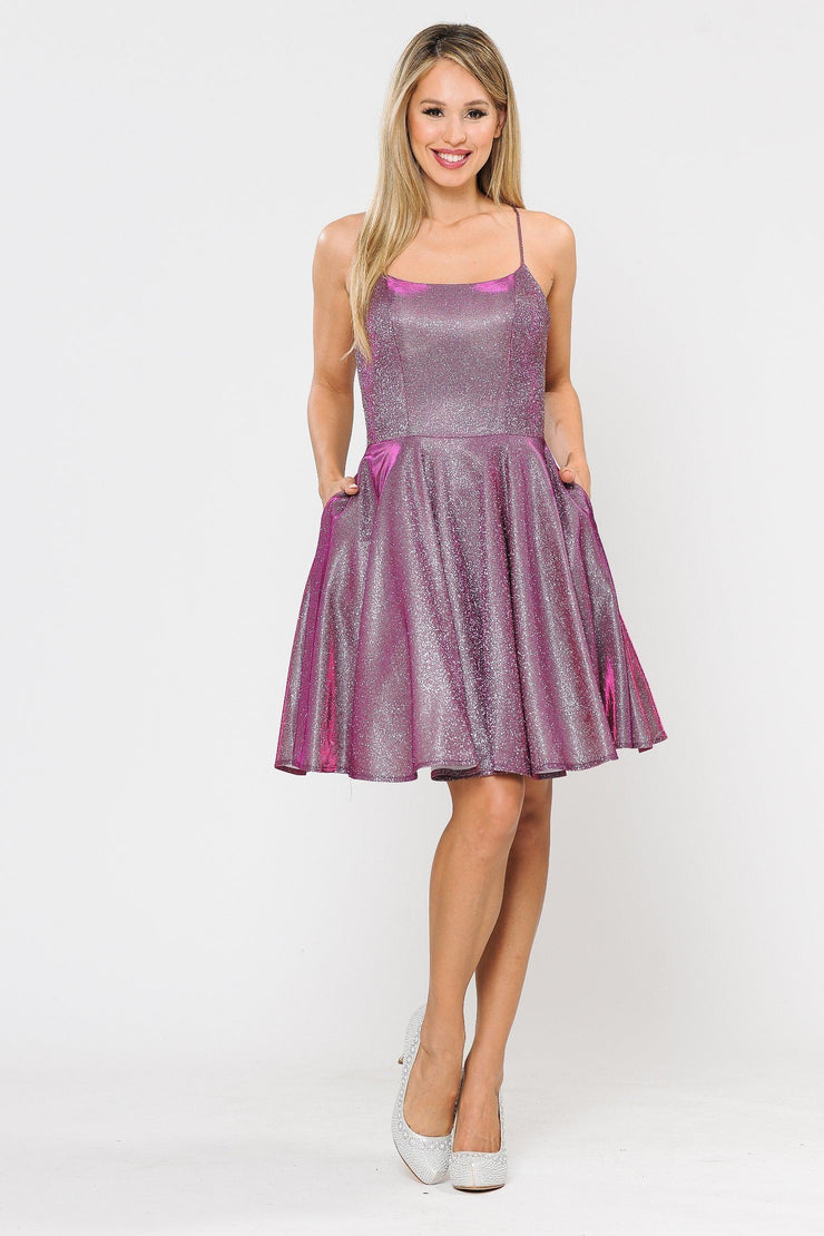 Square Neck Short Metallic Glitter Dress by Poly USA 8220