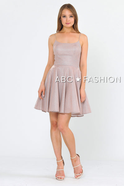 Square Neck Short Metallic Glitter Dress by Poly USA 8220-Short Cocktail Dresses-ABC Fashion
