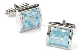 Square Silver Cufflinks with Aqua Blue Mosaic-Men's Cufflinks-ABC Fashion