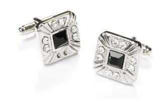 Square Silver Cufflinks with Black and Clear Crystals-Men's Cufflinks-ABC Fashion